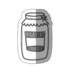 Sticker silhouette glass jam with label and lid vector