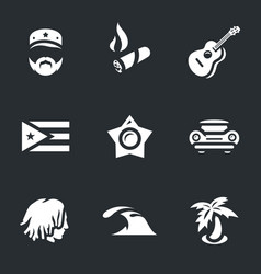 set of cuba icons vector image