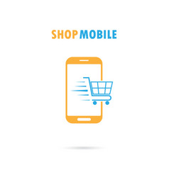 Mobile phone with online shopping vector
