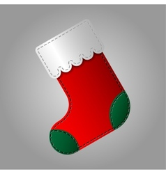 Christmas sock in red and green color vector