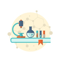 Flat icon of objects chemical laboratory - vector