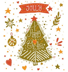 Happy new year sketchy greeting card vector