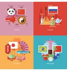 Set of flat design concepts for foreign languages vector