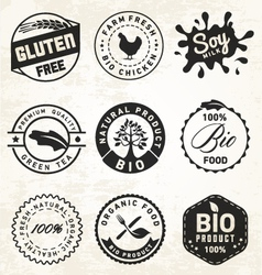 Natural organic labels and badges vector