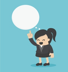 Young business woman indicate cloud text vector