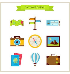 Flat travel objects set vector