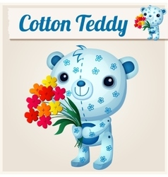 Blue cotton teddy bear cartoon vector