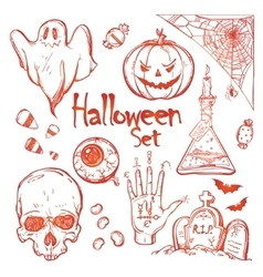 Set of icons for halloween vector