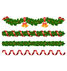 christmas holly garland vector image