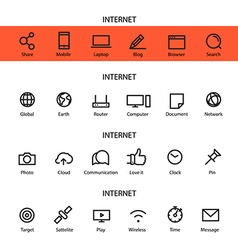 Different line style icons set internet vector