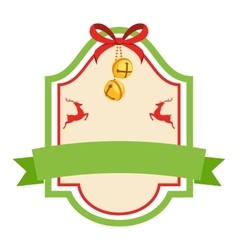 Christmas label icon flat vintage frame with vector