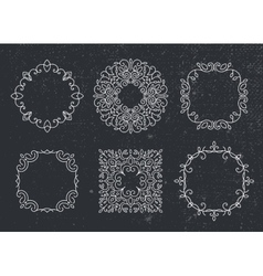 Set of monogram frames circles vintage vector