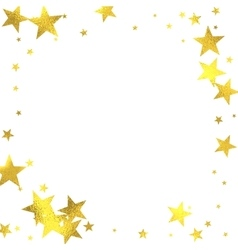Gold glittering foil stars on white background vector