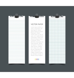 Set of blank white notepaper vertical web banners vector