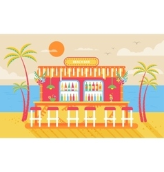 Happy sunny summer day beach bar vector