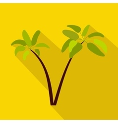 Two palm plant trees icon flat style vector
