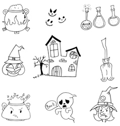 Halloween set in doodle on white backgrounds vector