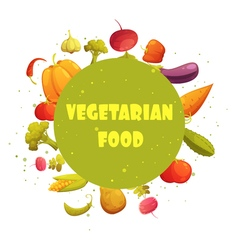 Vegetarian food round vegetables composition vector