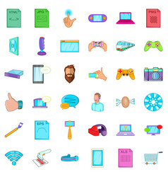 Application for work icons set cartoon style vector