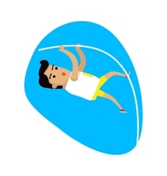 Athlete performing a pole vault sports icon vector