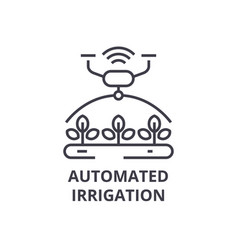 Automated irrigation line icon outline sign vector