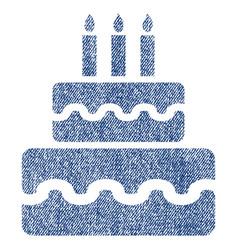 Birthday cake fabric textured icon vector