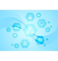 Blue hi-tech wavy background vector