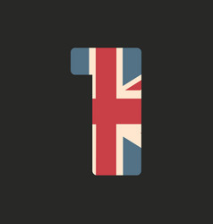 Capital number one with uk flag texture isolated vector