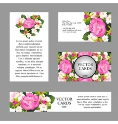 Cards with texture of pink peonies vector