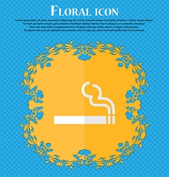 Cigarette smoke floral flat design on a blue vector