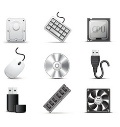 Computer parts bw series vector