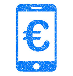 Euro mobile payment grunge icon vector