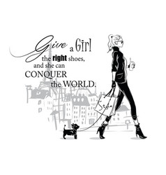 fashion quote with fashion woman in sketch style vector image