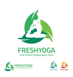 fresh yoga logo vector image
