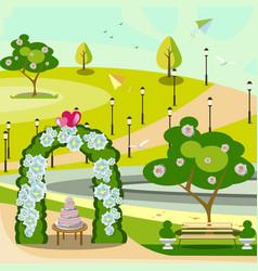 garden wedding arch in park vector image