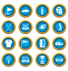 golf items icons blue circle set vector image