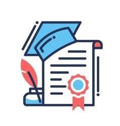 Gradution flat design single isolated icon vector