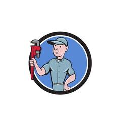 Handyman monkey wrench circle cartoon vector