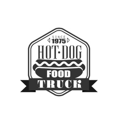 Hot dog truck label design vector
