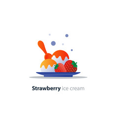 Ice cream dessert on plate strawberry flavor cool vector