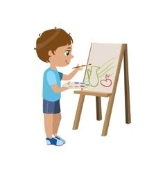 Little boy painting vector