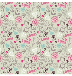Love Doodle Pattern vector image vector image
