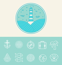 Nautical and travel icons vector