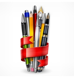 Pencils and pens with ribbon vector