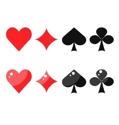 Playing card suits spades hearts diamonds and vector image