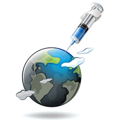 Save the world theme with earth and syringe vector
