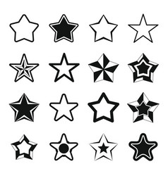 Set flat black silhouette star icons vector