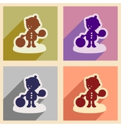 Set flat icons with long shadow child playing in vector