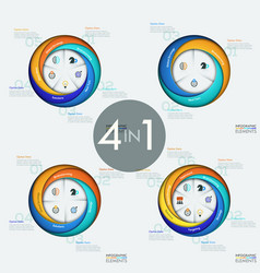 set of 4 modern circular infographic design vector image vector image