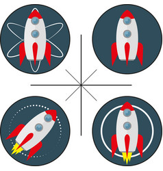 Set of four logos with rocket vector